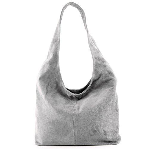 de Wildleder Bolso Damentasche cuero de hombro ital T150 de Bolso Grau de modamoda hombro Bolso pxqATTw