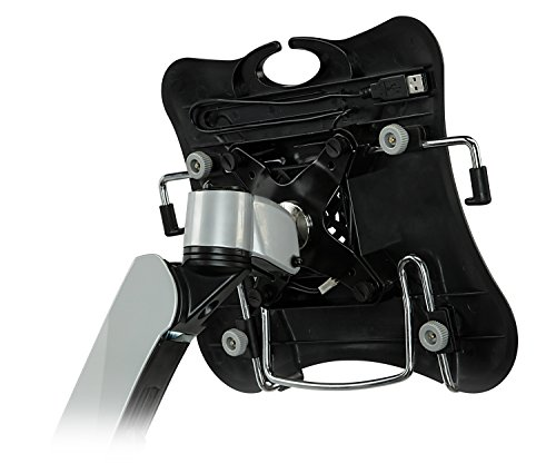 Mount-It! MI-75801 Adjustable Height, Articulating, Tilting, Rotating, Desk Mount Stand for Laptops, Tablets, and Notebooks for Screens up to 17inches with USB Powered Cooling Fan, Grommet Base, Silver by Mount-It! (Image #6)