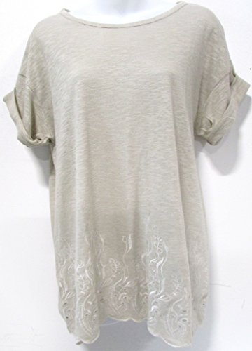 Ann Taylor Embroidered Hem Scalloped Tee Light Taupe Size M - Ann Taylor Light