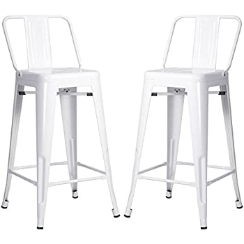 merax metal bar stools cafe chairs low back 26inch set of 2 white