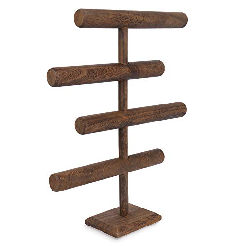 Mooca Wooden Brown 4-Tier Jewelry Display Stand, Wooden Necklace Jewelry Display Organizer Bracelet Holder for Shows, Wooden Bracelet Watch Display Stand, Brown Color