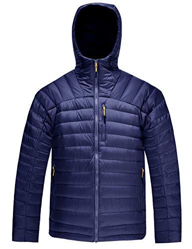 - HARD LAND Men's Packable Down Jacket Hooded Lightweight Winter Puffer Coat Outerwear Royal Blue Size XXXL