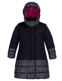 Deux par Deux Girls' Long Puffer Jacket in Black, Sizes 4-12