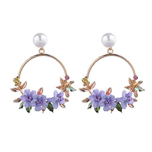 Womens Elegant Jewelry Set for Women Flower Rhinestone Crystal Pearl Pendant Circle Stud Earrings (Purple)