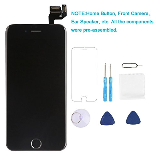Screen Replacement for iPhone 6S plus Black 5.5 inch P-zone LCD Display 3D Touch Screen Full Assembly Digitizer Assembled Kit with Repair Tools + Screen Protector (I6SP-DH-BLACK)