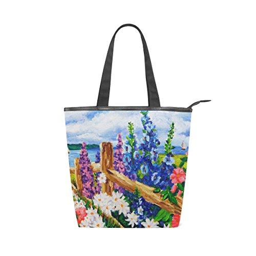 Al La Bolso De Mujer De Paisaje Lona Mydaily Floral Bolso De De Asas Flores Primavera Óleo Pintura 4xqBZnI