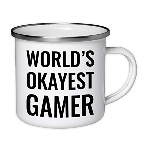 Stainless Steel Campfire Coffee Mug Gag Gift Worlds Okayest Gamer 1 Pack Enamel Metal Camping Camp Cup Christmas Birthday Present Ideas Includes
