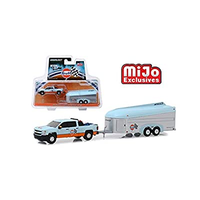 New DIECAST Toys CAR Greenlight 1:64 MIJO Exclusives Hitch & Tow - Gulf - 2020 Chevrolet Silverado with AEROVAULT (Light Blue/Orange) Limited 2880PCS 51243: Toys & Games
