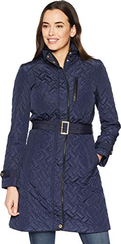 Cole Haan Women's Belted Signature Quilt Zip Front Coat with Trapunto Stitching Details Navy X-Large