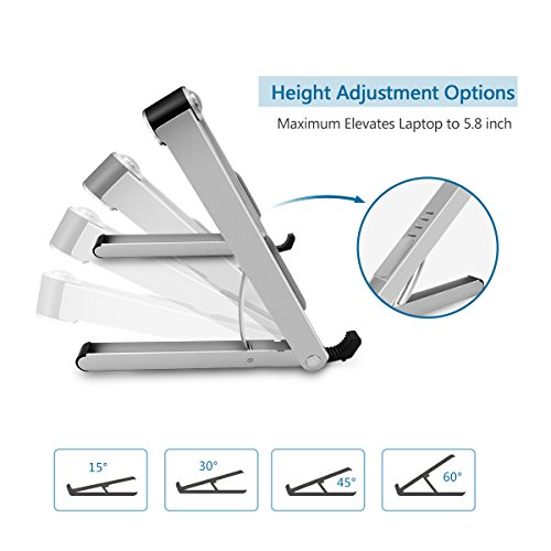 Aoafun Laptop Stand,Foldable Portable Ventilated,Holder with Lightweight&Space-Saving Design,Adjustable Ergonomic Laptop Cooling Stand Holder Aluminum N in 1(Silver) by Aoafun (Image #2)