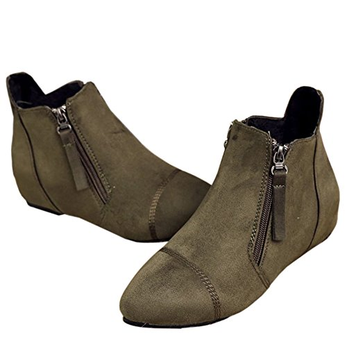Green Zipper Mid Booties Leisure Women's Heighe Army KemeKiss Ankle Increasing Heel vxEO4wn7q