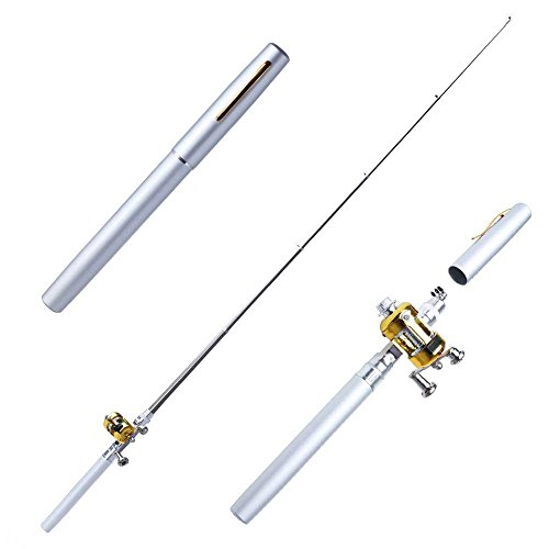 Best Fishing Rods Portable Pocket Pen Shape Aluminum Alloy Fishing Rod Pole Reel Combos (Silver)