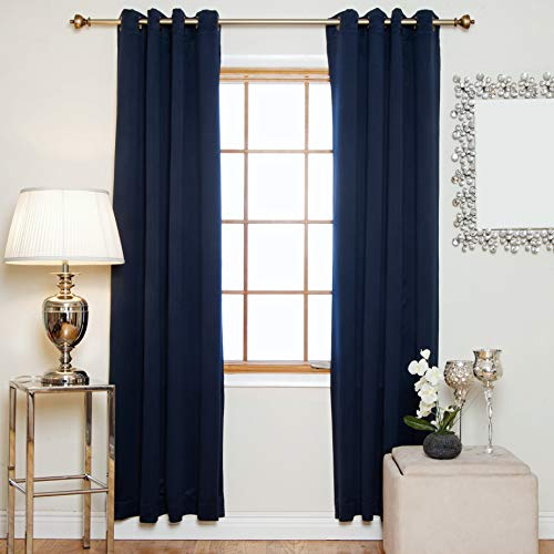 Blackout Curtain Navy Antique Brass Grommet Top Thermal Insulated 120 Inch Length Pair (Panels 120 Window)