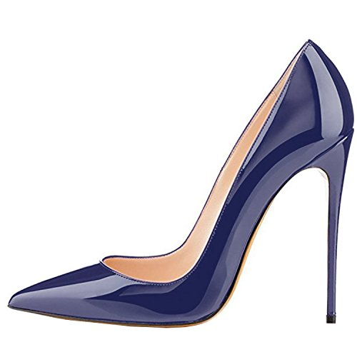 Lovirs Womens Pointed Toe High Heel Stiletto Solid Color Stiletto Pumps Wedding Party Shoes Navy L9eVSsm9