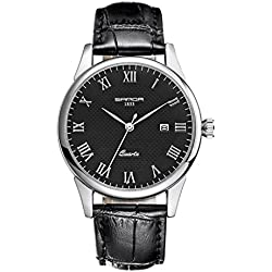 Juniors Boys Super Thin Quartz Analog Black Leather Strap Watch Lovers Watches Ages 15-20