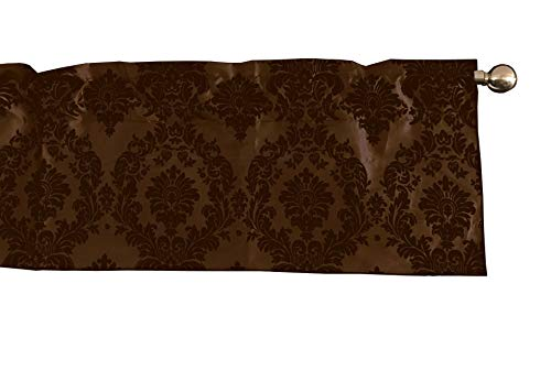 lovemyfabric Taffeta Damask Print Kitchen Curtain/Valance Window Treatment 56 Inch Wide 14 Inch Long (Brown on Brown)