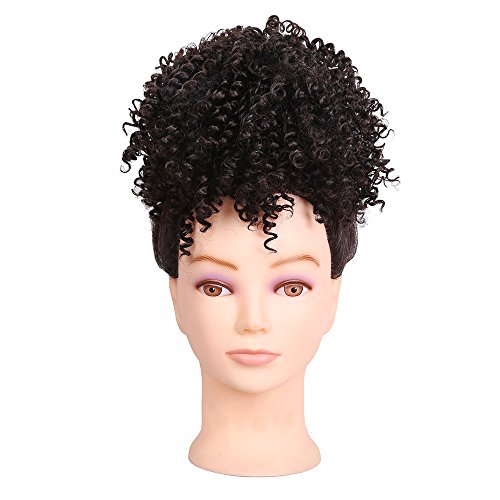 Search : Synthetic Afro Kinky Curly Hair Bun Extension Donut Chignon Hair Drawstring Short Ponytail Hairpieces Wig Updo Hairpiece Bun with Two Clips For African American Black Women (Brown)
