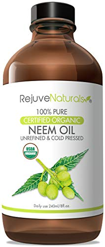 Neem Oil (8oz Glass Bottle) USDA Certified Organic, 100% Pure, Cold Pressed, by RejuveNaturals. Nail Fungus Treatment, Psoriasis Treatment Oil, For Hair & Skin - Flea & Tick Prevention for Dogs & Cats