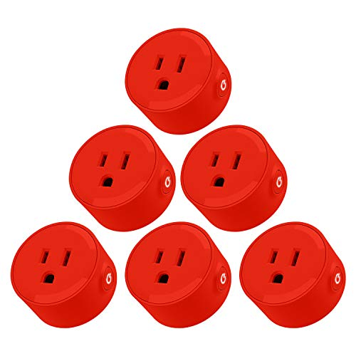 LITEdge Smart Plug, Compatible with Alexa, Wi-Fi Accessible Power Outlet, No Hub Needed, Control with App on Phone, Single Socket, More Cool Red Finish, Pack of 6