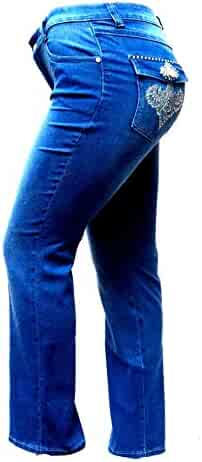 ef4422ba29e5c9 Jack David Womens Plus Size Bootcut/Straight Leg Stretch Relaxed Fit Blue  Denim Jeans Pants