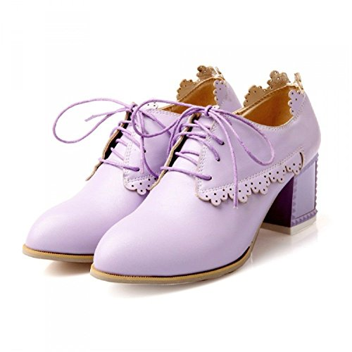 Carol Chaussures Vintage Femmes Chunky Talon Oxfords Chaussures Violet