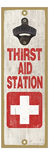 SJT ENTERPRISES, INC. Thirst aid Station - White Cross with red Background - Distressed Wooden Background. 5
