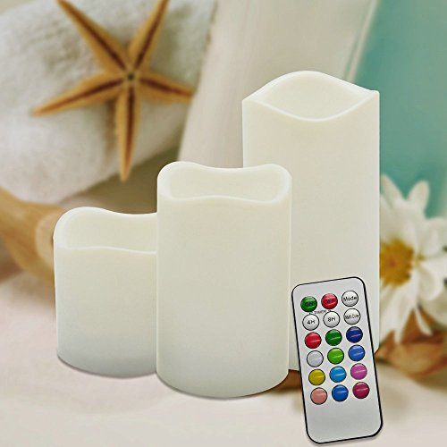 Flameless Candles Fding RGB Wireless Remote Control Flameless Timer Candles Lights Battery Operated-12 Changing Colors Remote Control Floating Lantern