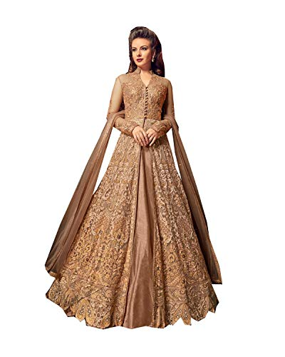 ziya Readymade Heavy Embroidered Lehenga Suit Bollywood Dress Kalarang Blossom (Skin, xs-36)