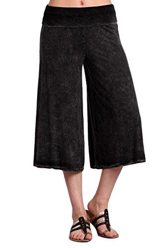 HEYHUN Plus Size Women's Solid Mineral Washed Tie Dye Wide Leg Flared Capri Boho Gaucho Pants - -