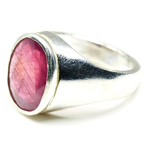 Jewelryonclick 6 Carat Natural Gemstone Ruby Sterling Silver Genuine Bold Ring For Men