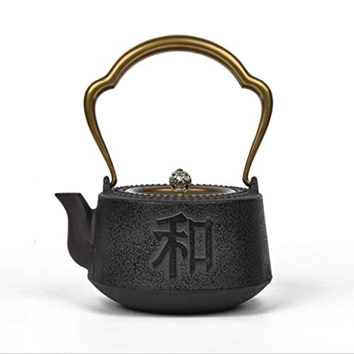 (Z-H Japanese Cast Iron Tetsubin Iron Kettle, Cast Iron Pot, Health Pot, Boiled Teapot, Handmade, Uncoated, Copper Lid, Tea Set 1100Ml, Black, a)