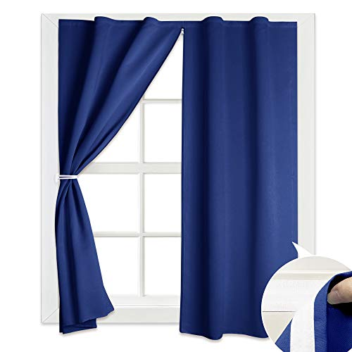RYB HOME Room Darkening Blind Curtain Shade - Adjustable Width Design with Back Zip Fastening Hang Without Rod Sunshade for Bedroom/Kitchen / School/Staircase, Wide 52 x Long 84 inch, Navy Blue