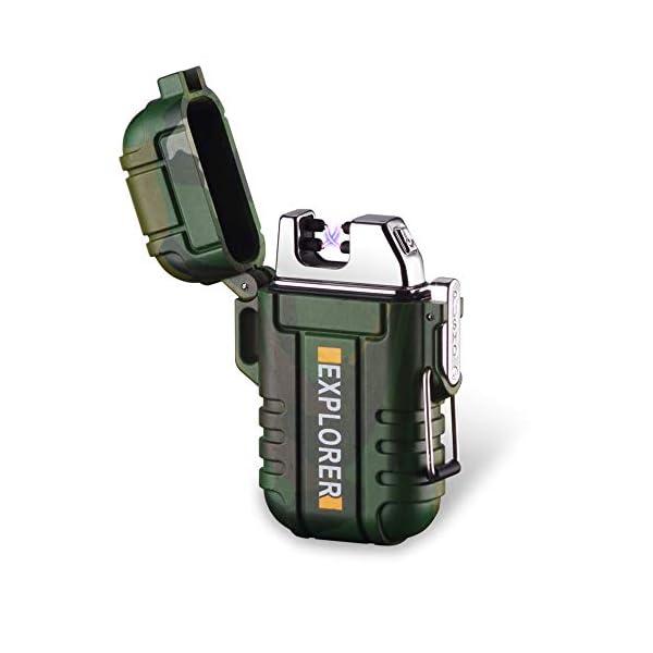 SANShine - Mechero electrónico de Doble Arco con batería de Plasma Recargable, Resistente al Viento, Impermeable y… 1