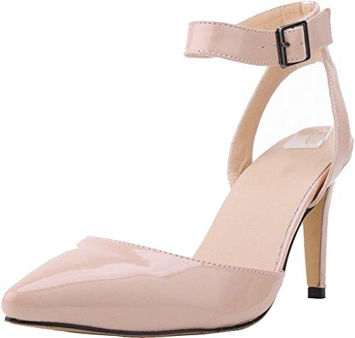 CFP - Zapatos con correa de tobillo mujer color carne