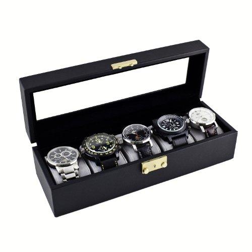 Caddy Bay Collection Classic - Estuche negro para guardar 5 relojes, con caja de exhibición y tapa de cristal.