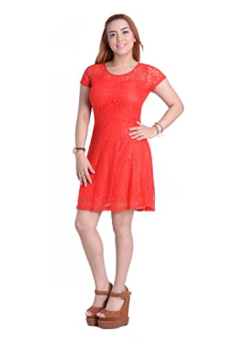 Amoluv Women Round Neck Short Sleeve Pleated Lace Slim Dress Red, X-Large