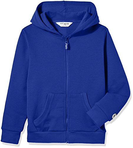 Kid Nation Kids' Soft Brushed Fleece Zip-Up Hooded Sweatshirt Hoodie for Boys or Girls L Blue 01