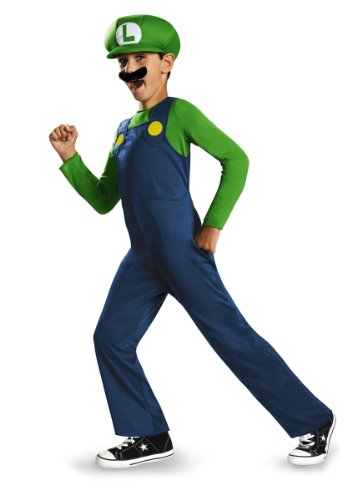 [Disguise Nintendo Super Mario Brothers Luigi Classic Boys Costume, Medium/7-8] (Tv Movie Childrens Costumes)