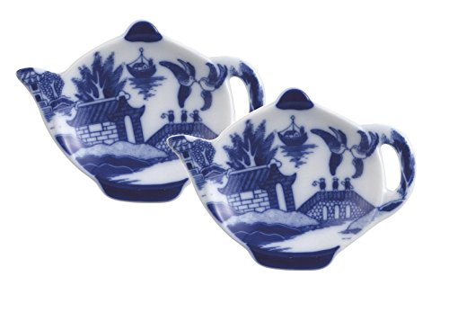 (HIC Harold Import Co. YK-404B/2 Harold Import Co HIC Blue Willow Tea Bag Holder Caddy, Fine-Quality Porcelain, 3.5-Inches, Set of 2, 4.5