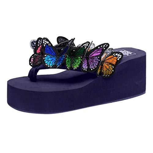 Womens Wedges Flip Flops Sandals, Summer Boho Butterfly Floral Slip on High Heel Platform Flip-Flop Beach Thong Sandals (Blue, US:7.5)