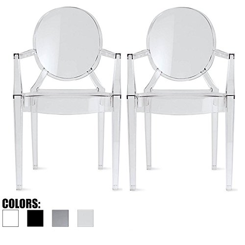 - 2xhome Set of 2 Clear Modern Contemporary Ghost Chairs Chair with Arms Molded Acrylic Plastic Mirrored Furniture Dining Retro for Writing Desk Dining Living Bedroom Outdoor Office Table Vanity Accent