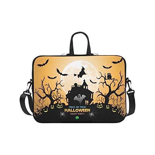 InterestPrint Halloween Night Party Orange Holiday Festival Theme Laptop Sleeve Case Bag Notebook Laptop Sleeve Bag 17 17.3 Inch for Women Men