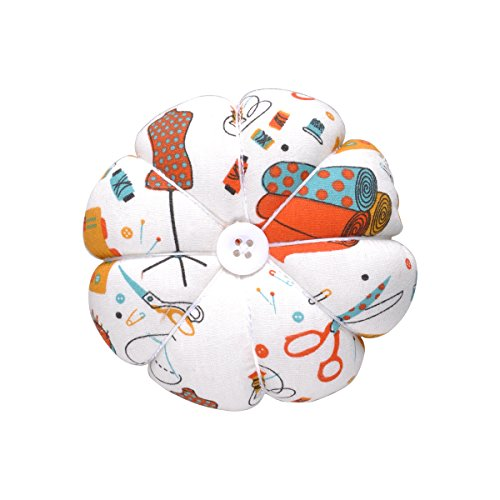 eZAKKA Wrist Pin Cushion Polka Pumpkin Wrist Band Pin Cushions Wearable Needle Pincushions for Sewing (Sewing Necessities Pattern White)