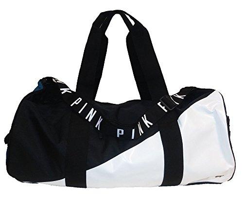 Victoria's Secret PINK Duffle Gym Bag Black/White/Teal Blue