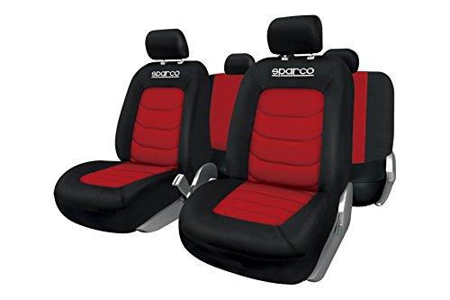 SPARCO SPC1019RS Set rood-zwart stoelhoezen compatibel met airbag, ritssluiting aan de achterkant en centrale bekleding…