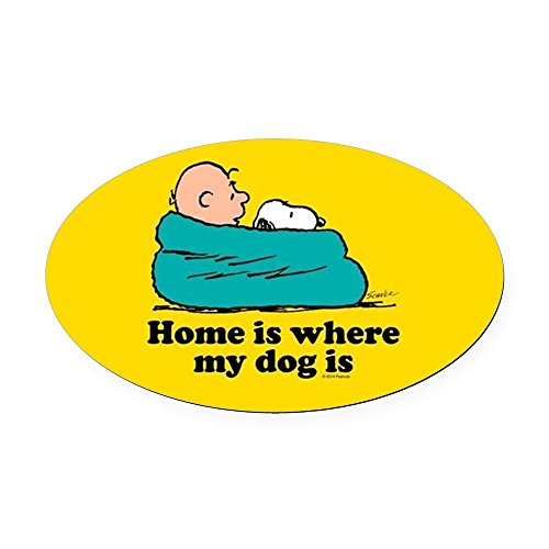 CafePress - Snoopy - Home Is Where My Dog Is F - Oval Car Magnet, Euro Oval Magnetic Bumper Sticker