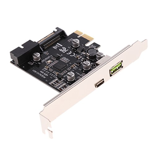 Homyl Black USB 3.1 Type C 1-Port Interface PCI-E Expansion Adapter Card for Vista Win 7 by Homyl