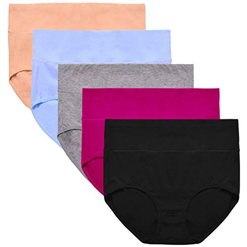 UMMISS Women's Multi Pack Stretchy Soft Breathable Cotton Mid Waist Panties Underwear -Multi -M ()