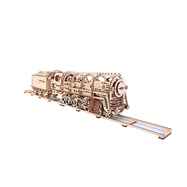 UGears Locomotive with Tender 3D Wooden Model Self Assembling Best Adult and Teens Gift 3