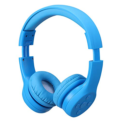 Kids Wireless Headphones, Yusonic Volume Limited kids headphones for kids with music share port and Built-in Microphone (e2, blue)